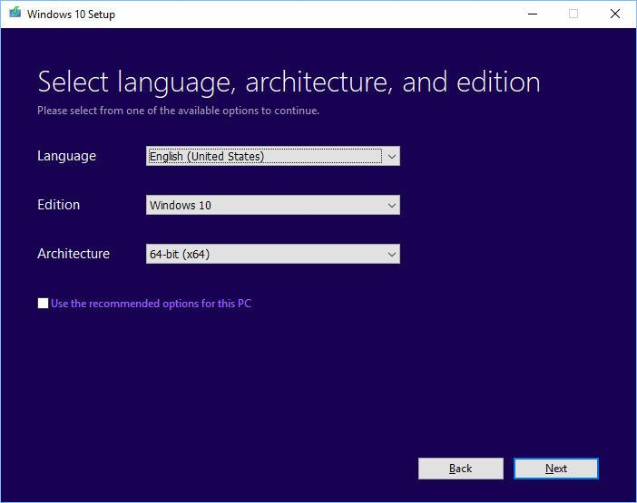 select language architecture and edition on windows 10